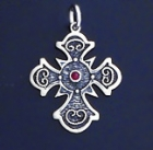 SILVER CROSS 1.2 INCHES WITH RUBY