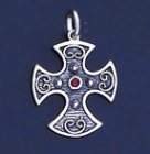SILVER CROSS 1.1 INCHES WITH RUBY